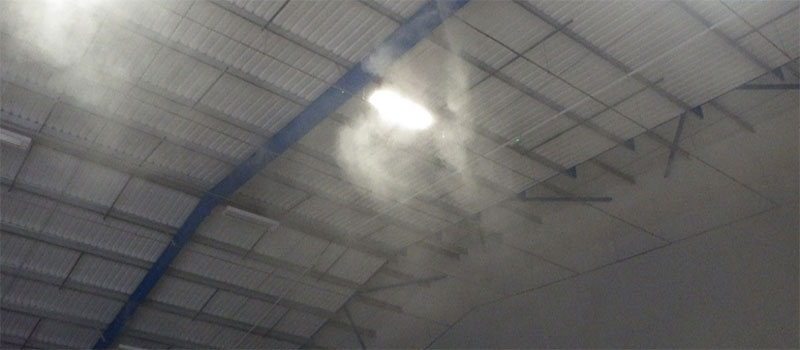 example of fogging misting system suppressing dust